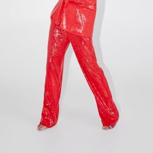 Red Sequin pant